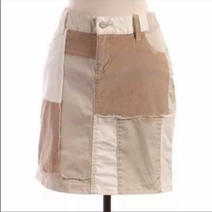 Anthropologie White and tan patchwork skirt